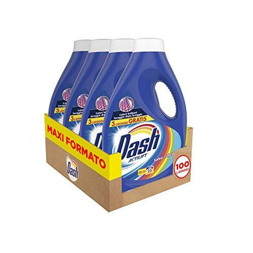 4x Flaconi Dash Detersivo Lavatrice Liquido Salva Colore - 100 lavaggi
