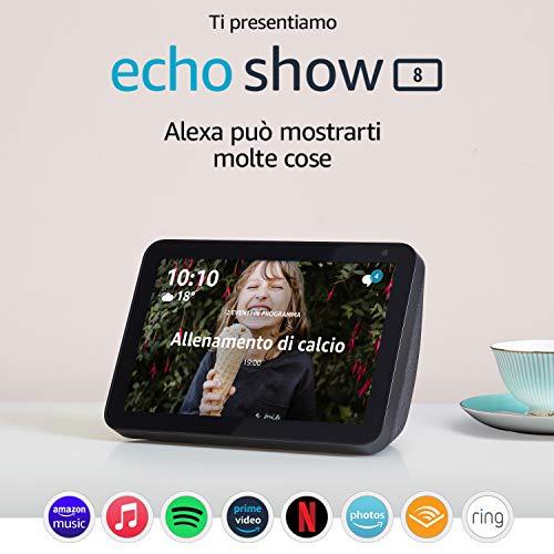 Ti presentiamo Echo Show 8 – Resta sempre in contatto con l'aiuto di Alexa - Tessuto antracite