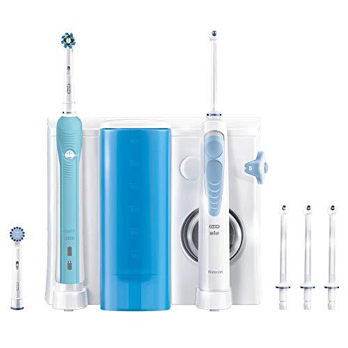 Oral-B Waterjet Sistema Pulente Idropulsore e Spazzolino Elettrico Ricaricabile PRO 700 con 4 Testine Waterjet e 2 Testine di Ricambio