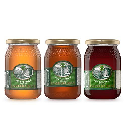 La Celda Real - 1,5 kg Miele naturale - Origine Spagna -100% Puro - Vaso di vetro - Pack 3 sapori: