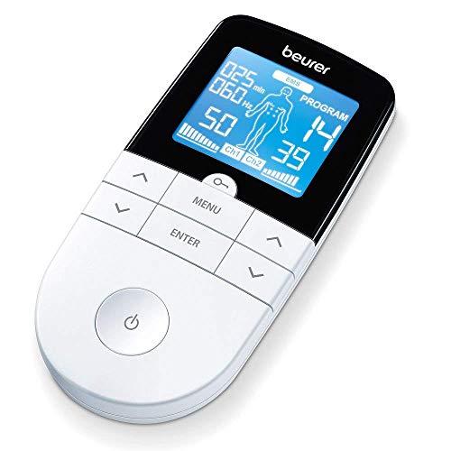 Beurer EM 49 Elettrostimolatore Digitale TENS EMS con Funzione Massaggio Relax, Bianco/Nero