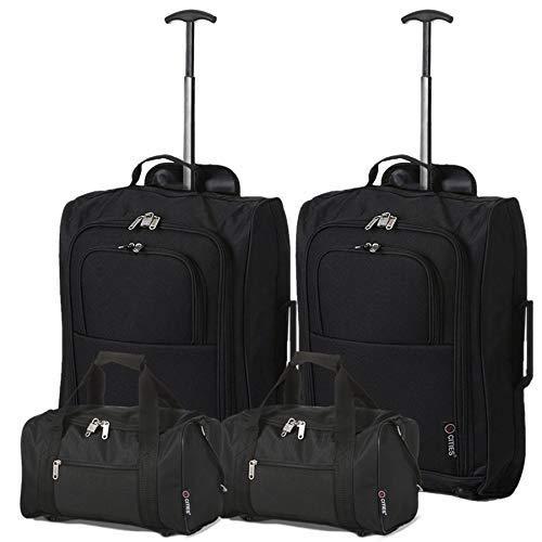 Set Valigie 4 pezzi 2 Trolley e 2 borse da Viaggio