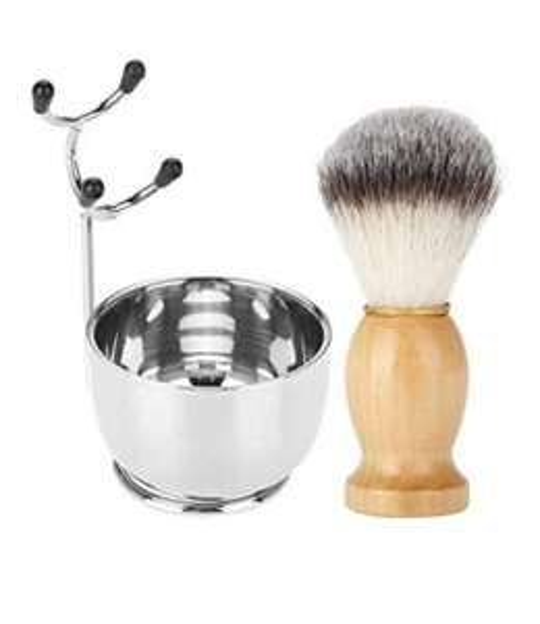 Set da barba per barba da uomo, ciotola per sapone in acciaio inox