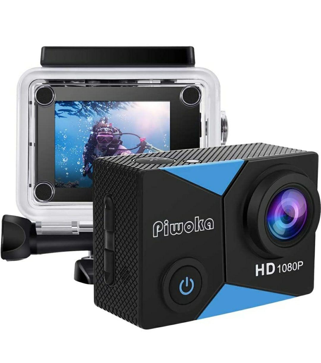 Piwoka Action Cam 1080P 12MP FHD 30M Impermeabile Fotocamera Subacquea con Schermo 2 Pollici 140 Gradi Ampia Vista Grandangolare
