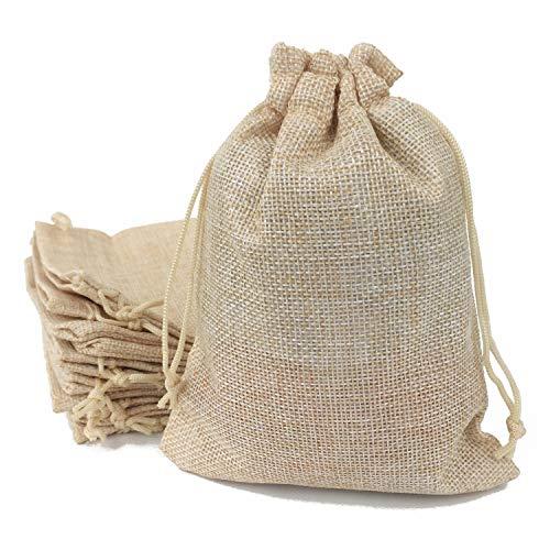 50 sacchetti in iuta con coulisse, sacchetti regalo, sacchetti per bomboniere, sacchetti di iuta, 13 x 18 cm, panna