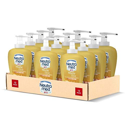 Neutromed Detergente Mani Liquido Miele Elixir, Profumo di Gardenia Bianca, 12 Pezzi x 300 ml