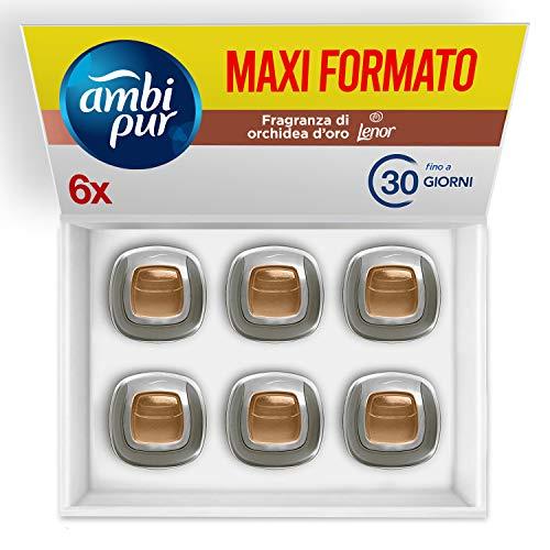 Ambi Pur Car Deodorante Auto Lenor Oro & Fior di Vaniglia, Mega Pack 6 x 2 ml