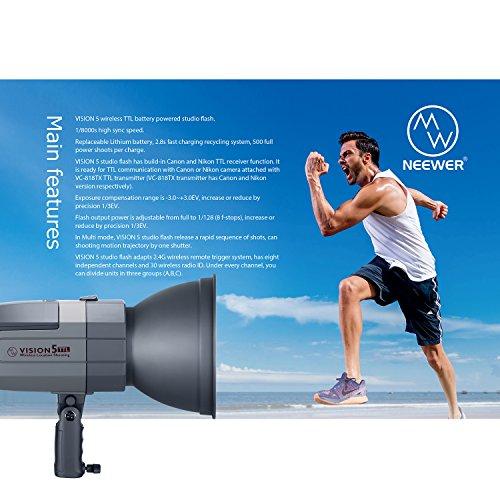 Neewer VISION5 400Ws 2,4G TTL Flash Strobe Compatibile con Canon DSLR Fotocamere, 1/8000s HSS Monoluce con Wireless Trigger, 6000mAh