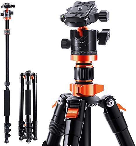 """K&F Concept Treppiede Treppiedi Fotocamera Portatible 200cm con Monopiede 205cm, Chiodo di Piedini, 360°Testa a Sfera Panoramica con 1/4"""""""
