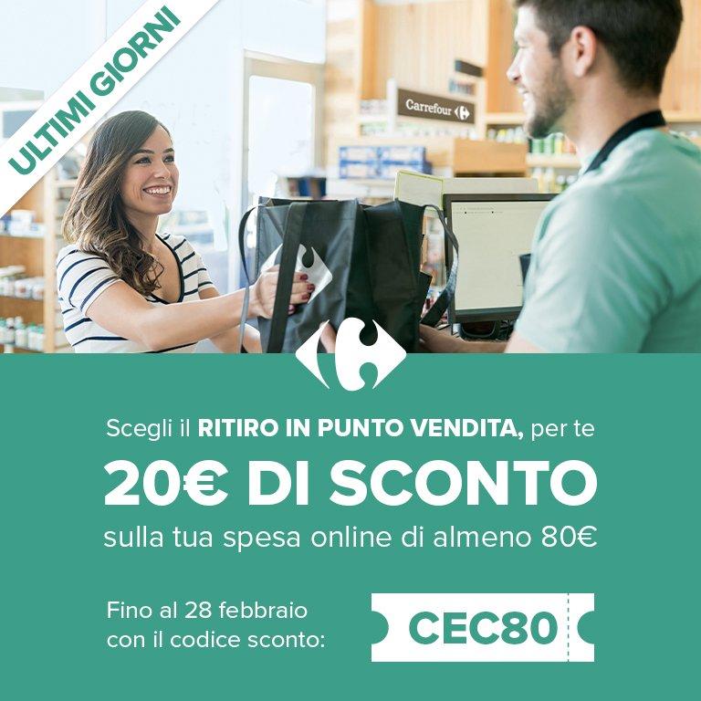 Carrefour online - Codice sconto 20€ su spesa minima 80€