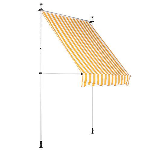 Tenda da Sole Retrattile Manuale, Tenda da Sole per Esterno, Tenda da Sole Impermeabile,200 x 120 cm(Gialle e Bianche)