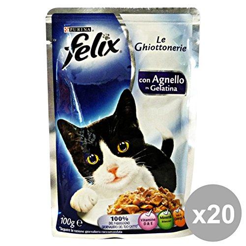 Felix - 20x Cibo per gatti Agnello 100 Gr.