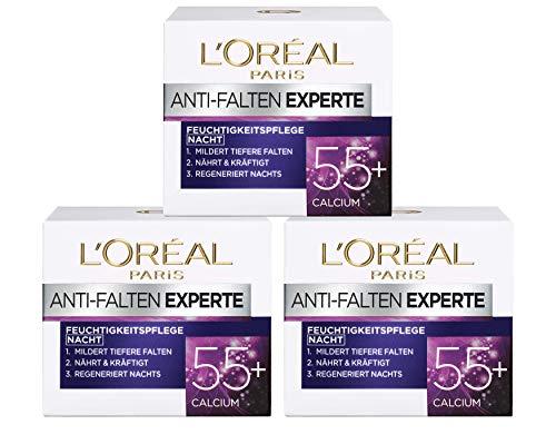 (3 X 50 ml) L' Oréal Paris Anti Rughe Expert Idratante Calcio 55 + notte cura, confezione da 3