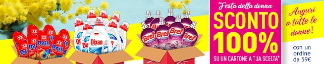 Speciale FESTA DELLA DONNA: Un Cartone di detersivi a tua scelta scontato del 100% (Con un ordine di 59€)