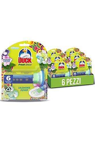 Duck Fresh Discs Base per Dischi Gel Igienizzanti WC, Profumo Jasmine Jump - 1 Tubo, 6 Dischetti - 36 ml