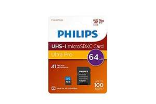 Scheda microSDXC Philips 64GB Classe 10, UHS-I U3, 4K