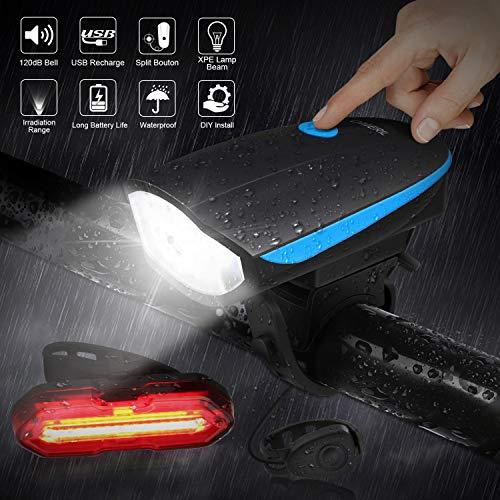 OMERIL Luci Bicicletta LED, Luce Bici Anteriore e Posteriore Ricaricabile USB Super Luminoso Luci Bicicletta Impermeabile IP65 con Clacson