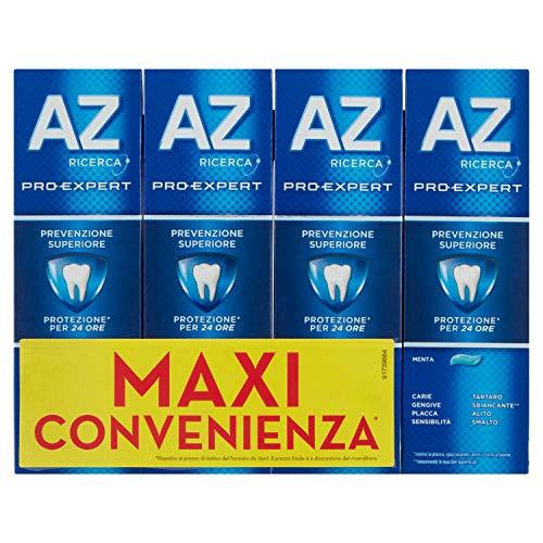 AZ Dentifricio Pro Expert Prevenzione Superiore, Pulizia Denti Completa, 4 x 75ml