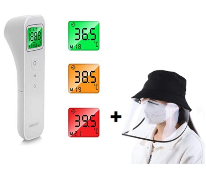 Termometro Frontale con LED + Cappello Protettivo unisex con visiera trasparente