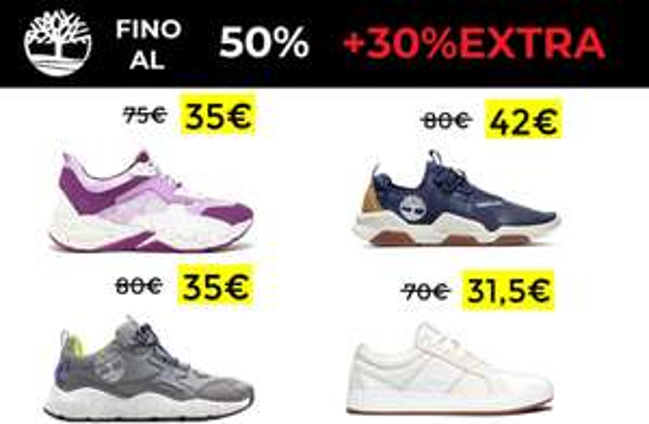 Fino al 50% + 30% EXTRA su Timberland