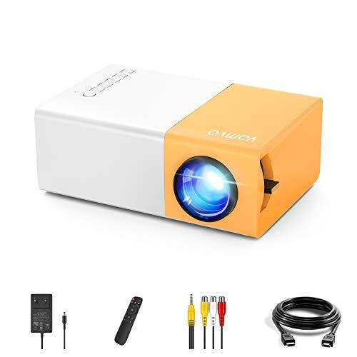 Mini Proiettore Vamvo YG300 formato video 1080p supportato, Compatibile con Smartphone/USB/HDMI/SD/AV