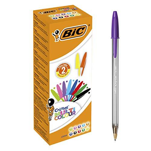 BIC Cristal Multicolour Penne a Sfera,CONFEZIONE DA 20 - Punta Larga (1.6 mm), Colori Assortiti