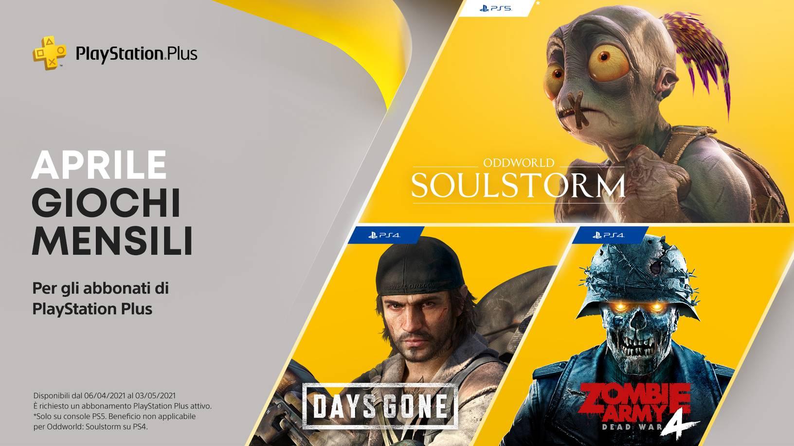 PlayStation Plus Aprile 2021 : Days Gone, Oddworld: Soulstorm e Zombie Army 4: Dead War