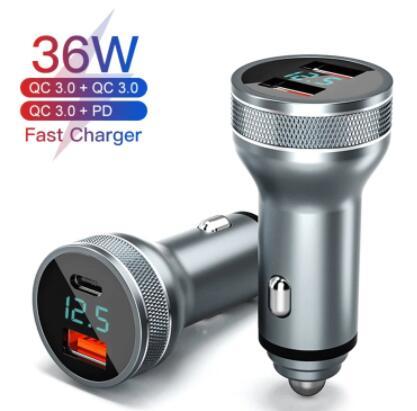 Caricabatteria da Auto USB 36W carica rapida 3.0