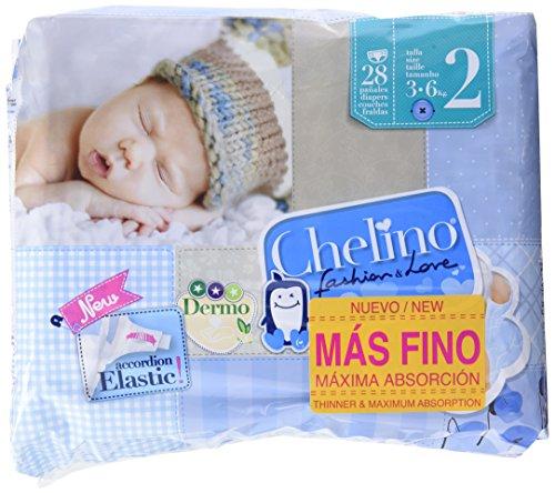 6 confezioni da 28 pannolini per neonato 3-6kg Pannolini taglia 2 Chelino(totale 168 pannolini)