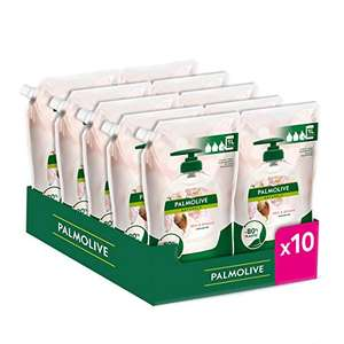 Palmolive 10 Pezzi da 1 L Sapone Liquido per le Mani Naturals Latte e Mandorla, Cura per le ManI