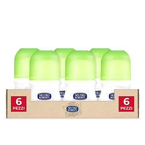 Neutro Roberts, Deodorante Roll On Fresco con Té Verde e Lime- 6 Confezioni da 50 ml
