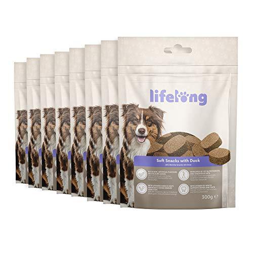 Marchio Amazon - Lifelong - Snack per cani, ricco di proteine, con anatra (8 confezioni da 300gr)