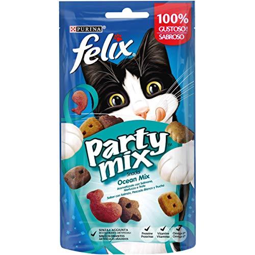 Purina Felix Party Mix Snack Gatto Ocean Mix al Gusto di Salmone, Merluzzo e Trota, 8 Confezioni da 60 g Ciascuna