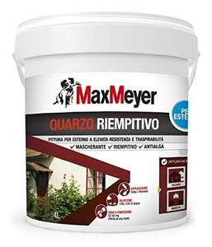 MaxMeyer Pittura per esterni Quarzo Riempitivo Antialga BIANCO 4 L