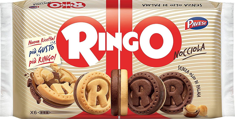 Pavesi Ringo.Contiene 6 pacchetti da 6 biscotti ciascuno - 310 g