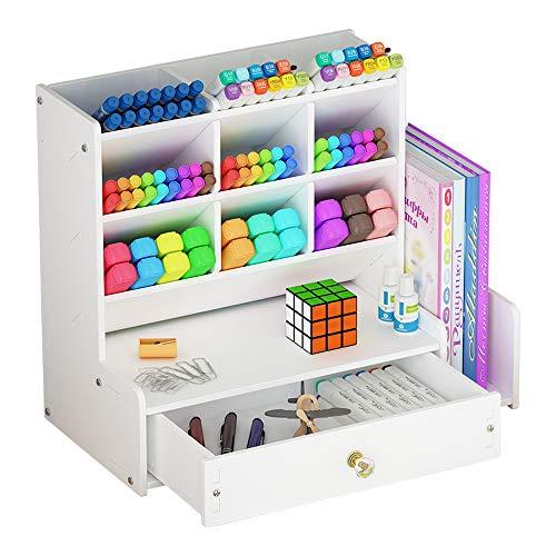Organizer da scrivania bianco fai da te, grande capacità, con scomparti portapenne, per scuola, casa e ufficio
