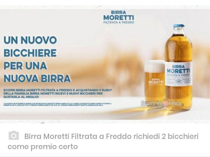 Premio certo 2 bicchieri birra Moretti