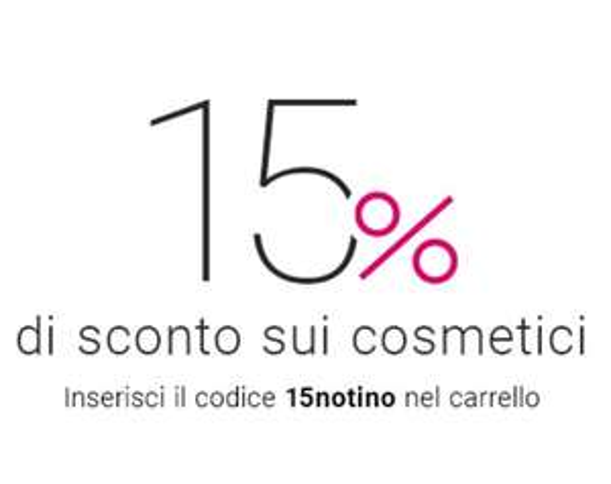 Sconto 15% sui cosmetici sul sito NOTINO