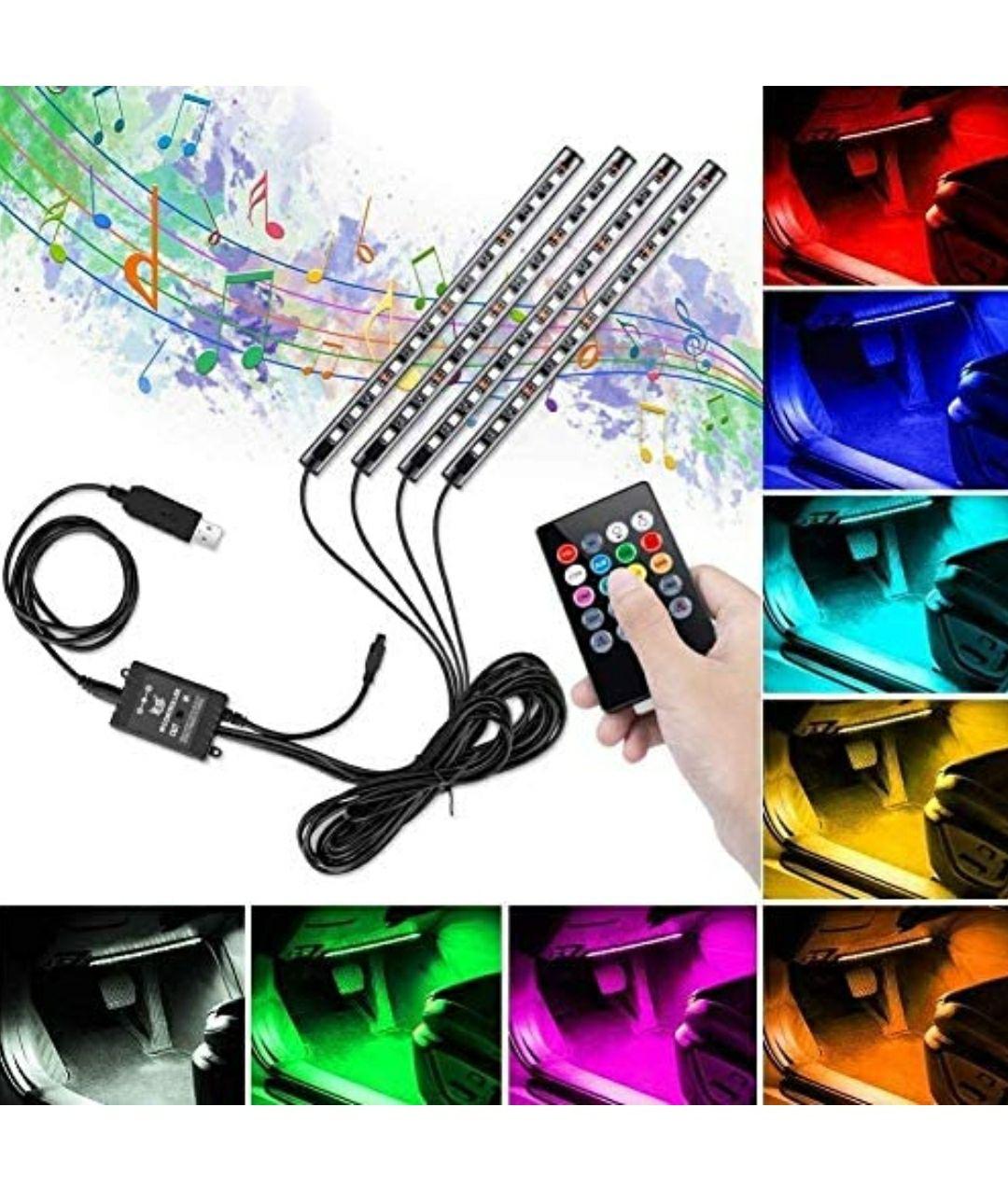 Striscia Led Auto, Winzwon 48 LED DC 12 V Kit Impermeabile con Telecomando Wireless