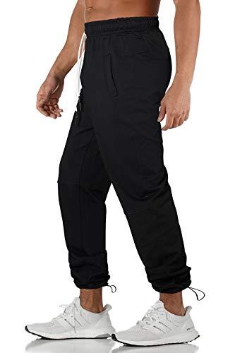 Pantaloni Tuta Uomo Pantaloni Sportivi Fitness Cargo Pantalone in Vita Elastica XL -XXL-NERO