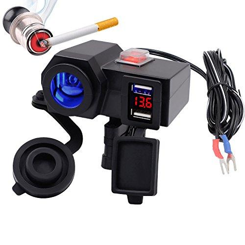 TR Turn Raise - Caricatore con presa USB, impermeabile, per manubrio della moto,