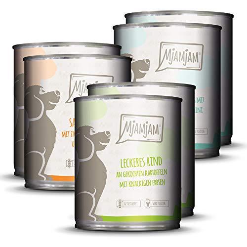Mangime Umido per Cani, Mix Pack i 2 Pollo & Anatra, 2 Bovino, 2 Tacchino e Riso - Pacco da 6 x 800 g