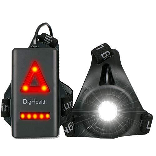 Luce Corsa Ricaricabile USB, 3 modalità LED Lampada da Petto Impermeabile con Spia di Sicurezza Posteriore