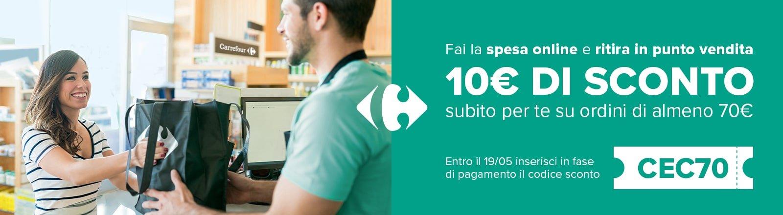 Carrefour: Codice sconto di 10€ per una spesa minima di 70€