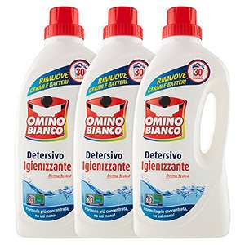 3x Omino Bianco Detersivo Igienizzante Lavatrice 30 Lavaggi