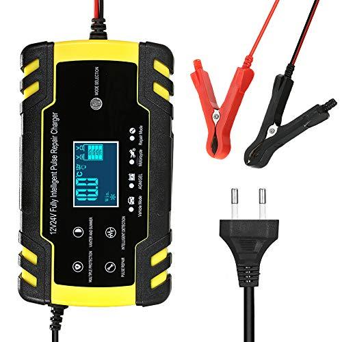 Caricabatterie per Auto Moto 12 V/24 V, 8 A con Schermo LCD