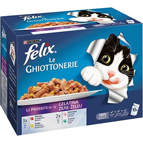 Purina Felix Le Ghiottonerie Umido Gatto Le Preferite con Manzo/Pollo/Salmone e con Tonno, 60 Buste da 100 g Ciascuna