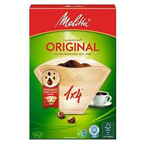 80 filtri per caffé, Dimensioni 1x4, Per caffettiera a filtri, Original, Scuro