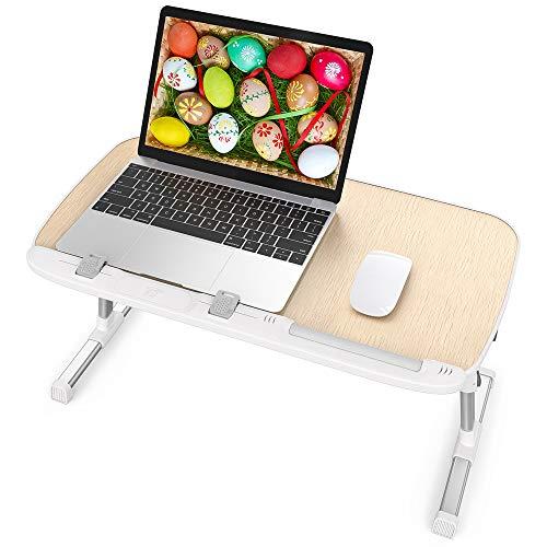 Tavolino da Letto, Tavolino Pieghevole Regolabile in Altezza e Inclinazione, Supporto PC Portatile con Gambe Pieghevoli per Divano