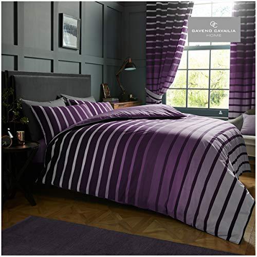 Lussuoso set letto Oscar taglia KING con copripiumino e federe, in poliestere-cotone, colore: Viola